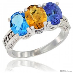 14K White Gold Natural Swiss Blue Topaz, Whisky Quartz & Tanzanite Ring 3-Stone 7x5 mm Oval Diamond Accent