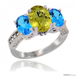 14K White Gold Ladies 3-Stone Oval Natural Lemon Quartz Ring with Swiss Blue Topaz Sides Diamond Accent