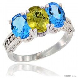 14K White Gold Natural Lemon Quartz & Swiss Blue Topaz Sides Ring 3-Stone 7x5 mm Oval Diamond Accent