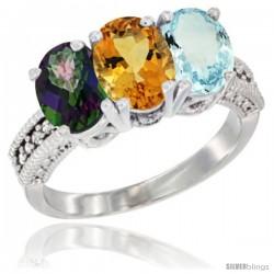 10K White Gold Natural Mystic Topaz, Citrine & Aquamarine Ring 3-Stone Oval 7x5 mm Diamond Accent