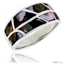 "Sterling Silver Flat Band, w/Brown & White Mother of Pearl Inlay, 1/2"" (12 mm) wide"