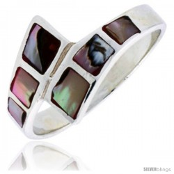 "Sterling Silver Fancy Band, w/Brown & White Mother of Pearl Inlay, 1/2"" (12 mm) wide"