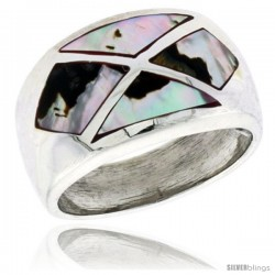 "Sterling Silver Dome Band, w/Colorful Mother of Pearl Inlay, 9/16"" (14 mm) wide"