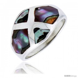 "Sterling Silver Dome Band, w/Colorful Mother of Pearl Inlay, 9/16"" (14 mm) wide -Style Trs116"