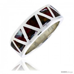 "Sterling Silver Triangular Pattern Flat Band, w/Colorful Mother of Pearl Inlay, 3/8"" (10 mm) wide"