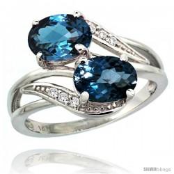 14k White Gold ( 8x6 mm ) Double Stone Engagement London Blue Topaz Ring w/ 0.07 Carat Brilliant Cut Diamonds & 2.34 Carats