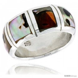 "Sterling Silver Dome Band, w/Colorful Mother of Pearl Inlay, 3/8"" (10 mm) wide"