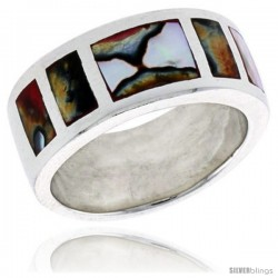 "Sterling Silver Square Pattern Flat Band, w/Colorful Mother of Pearl Inlay, 3/8"" (10 mm) wide"
