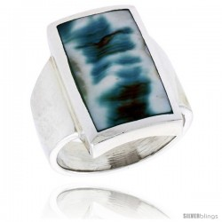 "Sterling Silver Rectangular Shell Ring, w/Blue-Green Mother of Pearl Inlay, 7/8"" (22 mm) wide"