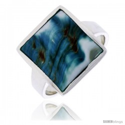 "Sterling Silver Square Shape Shell Ring, w/Blue-Green Mother of Pearl Inlay, 11/16"" (17 mm) wide"
