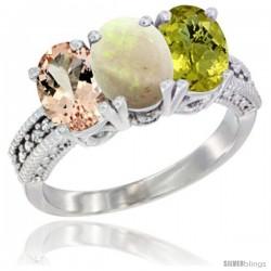 14K White Gold Natural Morganite, Opal & Lemon Quartz Ring 3-Stone Oval 7x5 mm Diamond Accent