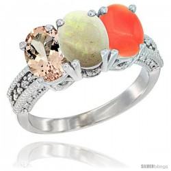 14K White Gold Natural Morganite, Opal & Coral Ring 3-Stone Oval 7x5 mm Diamond Accent