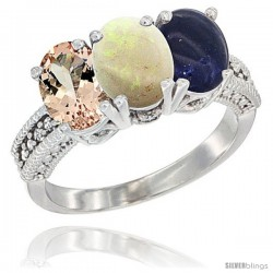 14K White Gold Natural Morganite, Opal & Lapis Ring 3-Stone Oval 7x5 mm Diamond Accent