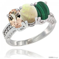 14K White Gold Natural Morganite, Opal & Malachite Ring 3-Stone Oval 7x5 mm Diamond Accent