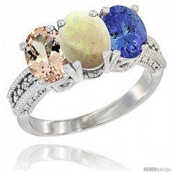 14K White Gold Natural Morganite, Opal & Tanzanite Ring 3-Stone Oval 7x5 mm Diamond Accent