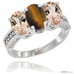 14K White Gold Natural Tiger Eye & Morganite Sides Ring 3-Stone Oval 7x5 mm Diamond Accent