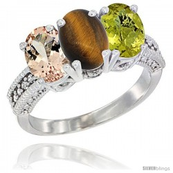 14K White Gold Natural Morganite, Tiger Eye & Lemon Quartz Ring 3-Stone Oval 7x5 mm Diamond Accent