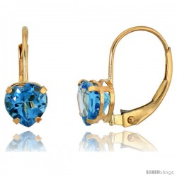 10k Yellow Gold Natural Blue Topaz Heart Leverback Earrings 6mm December Birthstone, 9/16 in tall