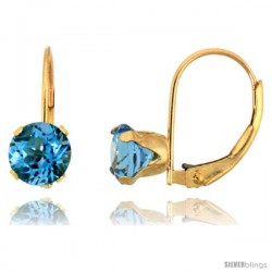 10k Yellow Gold Natural Blue Topaz Leverback Earrings 6mm Brilliant Cut December Birthstone, 9/16 in tall