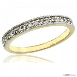 10k Gold Ladies' 3mm Diamond Wedding Ring Band w/ 0.168 Carat Brilliant Cut Diamonds