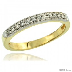 10k Gold 2.5mm Diamond Wedding Ring Band w/ 0.176 Carat Brilliant Cut Diamonds