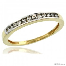 10k Gold 3mm Classic Channel Set Diamond Ring Band w/ 0.18 Carat Brilliant Cut Diamonds