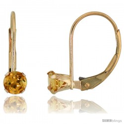 10k Yellow Gold Natural Citrine Leverback Earrings 4mm Brilliant Cut November Birthstone, 9/16 in tall
