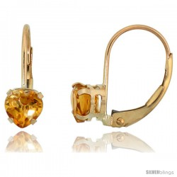 10k Yellow Gold Natural Citrine Leverback Heart Earrings 5mm November Birthstone, 9/16 in tall