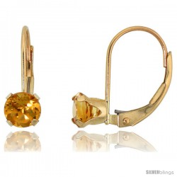10k Yellow Gold Natural Citrine Leverback Earrings 5mm Brilliant Cut November Birthstone, 9/16 in tall