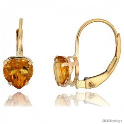 10k Yellow Gold Natural Citrine Leverback Heart Earrings 6mm November Birthstone, 9/16 in tall