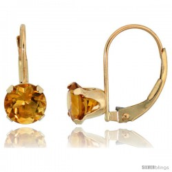 10k Yellow Gold Natural Citrine Leverback Earrings 6mm Brilliant Cut November Birthstone, 9/16 in tall