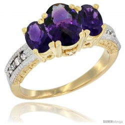 10K Yellow Gold Ladies Oval Natural Amethyst 3-Stone Ring Diamond Accent