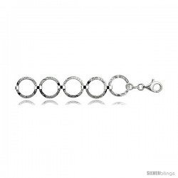 "Sterling Silver 7 in. Circle Link Bracelet, 11/16"" (17 mm) wide, Diamond Cut Finish"