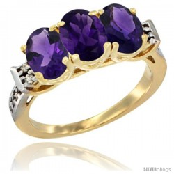 10K Yellow Gold Natural Amethyst Ring 3-Stone Oval 7x5 mm Diamond Accent