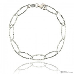 "Sterling Silver 7.5 in. Textured Oval Link Bracelet 1/4"" (6.5 mm) wide, Diamond Cut Finish"