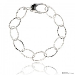 "Sterling Silver 7 in. Textured Oval Link Bracelet 7/16"" (11 mm) wide, Diamond Cut Finish"