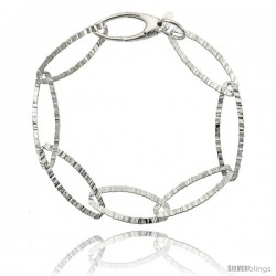 "Sterling Silver 7.5 in. Textured Oval Link Bracelet 7/16"" (11 mm) wide, Diamond Cut Finish"