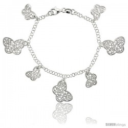Sterling Silver 7.5 in. Filigree Floral Charm Bracelet