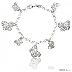 Sterling Silver 7.5 in. Filigree Floral Charm Bracelet