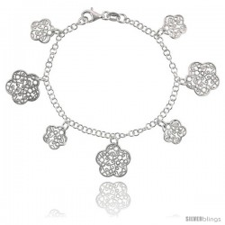 Sterling Silver 7.5 in. Filigree Butterfly Charm Bracelet