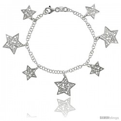 Sterling Silver 7.5 in. Filigree Star Charm Bracelet