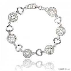Sterling Silver 7 in. Round Filigree & Heart Cut Out Bracelet, 7/16 in. (11 mm) wide