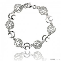 Sterling Silver 7 in. Round Filigree & Crescent Moon Cut Out Bracelet, 7/16 in. (11 mm) wide