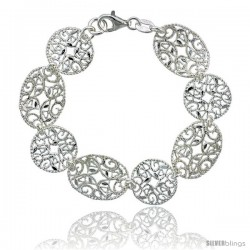 Sterling Silver 6.75 in. Round & Oval Floral Filigree Bracelet, 5/8 in. (16 mm) wide