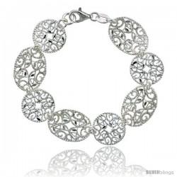 Sterling Silver 6.75 in. Round & Oval Floral Filigree Bracelet, 5/8 in. (16 mm) wide