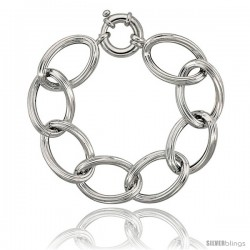 Sterling Silver Large Hollow Oval Link 8 in. Bracelet, 13/16 in. (20 mm)wide