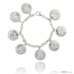 """Sterling Silver St. Joseph Charm Bracelet, 1"""" (25 mm) wide"""