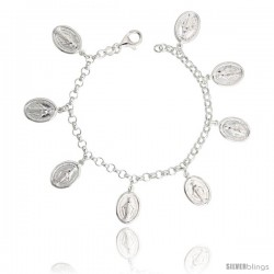"Sterling Silver Mary Immaculate Conception Charm Bracelet, 3/4"" (20 mm) wide"
