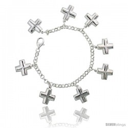 "Sterling Silver Cross Charm Bracelet, 7/8"" (22 mm) wide"