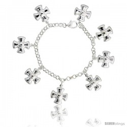 "Sterling Silver Heart on Maltese Cross Charm Bracelet, 15/16"" (24 mm) wide"